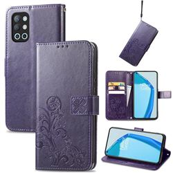 Embossing Imprint Four-Leaf Clover Leather Wallet Case for OnePlus 9R - Purple