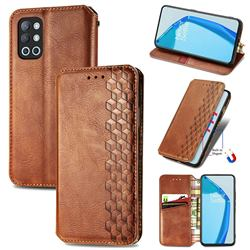 Ultra Slim Fashion Business Card Magnetic Automatic Suction Leather Flip Cover for OnePlus 9R - Brown
