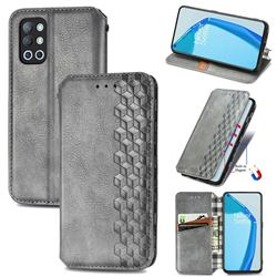 Ultra Slim Fashion Business Card Magnetic Automatic Suction Leather Flip Cover for OnePlus 9R - Grey