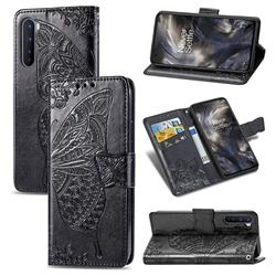 Embossing Mandala Flower Butterfly Leather Wallet Case for OnePlus Nord (OnePlus 8 NORD 5G, OnePlus Z) - Black