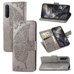 Embossing Mandala Flower Butterfly Leather Wallet Case for OnePlus Nord (OnePlus 8 NORD 5G, OnePlus Z) - Gray