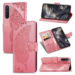 Embossing Mandala Flower Butterfly Leather Wallet Case for OnePlus Nord (OnePlus 8 NORD 5G, OnePlus Z) - Pink