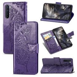 Embossing Mandala Flower Butterfly Leather Wallet Case for OnePlus Nord (OnePlus 8 NORD 5G, OnePlus Z) - Dark Purple