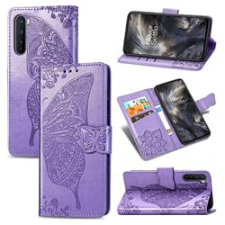Embossing Mandala Flower Butterfly Leather Wallet Case for OnePlus Nord (OnePlus 8 NORD 5G, OnePlus Z) - Light Purple