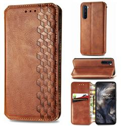 Ultra Slim Fashion Business Card Magnetic Automatic Suction Leather Flip Cover for OnePlus Nord (OnePlus 8 NORD 5G, OnePlus Z) - Brown
