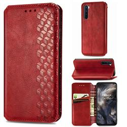 Ultra Slim Fashion Business Card Magnetic Automatic Suction Leather Flip Cover for OnePlus Nord (OnePlus 8 NORD 5G, OnePlus Z) - Red