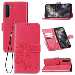 Embossing Imprint Four-Leaf Clover Leather Wallet Case for OnePlus Nord (OnePlus 8 NORD 5G, OnePlus Z) - Rose Red