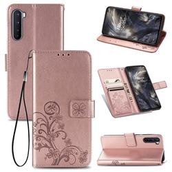 Embossing Imprint Four-Leaf Clover Leather Wallet Case for OnePlus Nord (OnePlus 8 NORD 5G, OnePlus Z) - Rose Gold