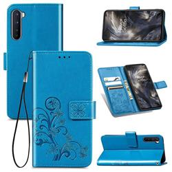 Embossing Imprint Four-Leaf Clover Leather Wallet Case for OnePlus Nord (OnePlus 8 NORD 5G, OnePlus Z) - Blue