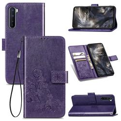 Embossing Imprint Four-Leaf Clover Leather Wallet Case for OnePlus Nord (OnePlus 8 NORD 5G, OnePlus Z) - Purple