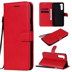 Retro Greek Classic Smooth PU Leather Wallet Phone Case for OnePlus Nord (OnePlus 8 NORD 5G, OnePlus Z) - Red