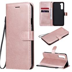 Retro Greek Classic Smooth PU Leather Wallet Phone Case for OnePlus Nord (OnePlus 8 NORD 5G, OnePlus Z) - Rose Gold