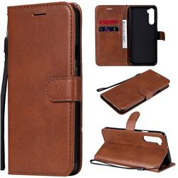 Retro Greek Classic Smooth PU Leather Wallet Phone Case for OnePlus Nord (OnePlus 8 NORD 5G, OnePlus Z) - Brown