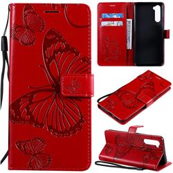Embossing 3D Butterfly Leather Wallet Case for OnePlus Nord (OnePlus 8 NORD 5G, OnePlus Z) - Red