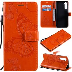 Embossing 3D Butterfly Leather Wallet Case for OnePlus Nord (OnePlus 8 NORD 5G, OnePlus Z) - Orange