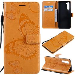 Embossing 3D Butterfly Leather Wallet Case for OnePlus Nord (OnePlus 8 NORD 5G, OnePlus Z) - Yellow