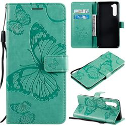 Embossing 3D Butterfly Leather Wallet Case for OnePlus Nord (OnePlus 8 NORD 5G, OnePlus Z) - Green