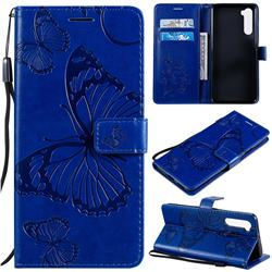 Embossing 3D Butterfly Leather Wallet Case for OnePlus Nord (OnePlus 8 NORD 5G, OnePlus Z) - Blue