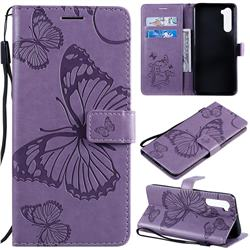Embossing 3D Butterfly Leather Wallet Case for OnePlus Nord (OnePlus 8 NORD 5G, OnePlus Z) - Purple