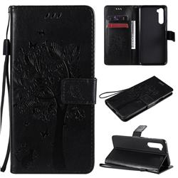 Embossing Butterfly Tree Leather Wallet Case for OnePlus Nord (OnePlus 8 NORD 5G, OnePlus Z) - Black