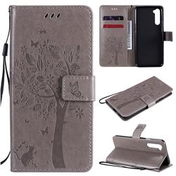 Embossing Butterfly Tree Leather Wallet Case for OnePlus Nord (OnePlus 8 NORD 5G, OnePlus Z) - Grey