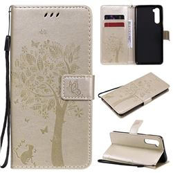 Embossing Butterfly Tree Leather Wallet Case for OnePlus Nord (OnePlus 8 NORD 5G, OnePlus Z) - Champagne