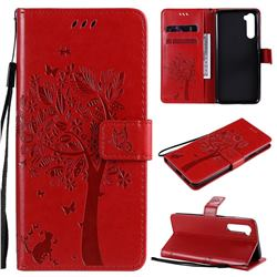 Embossing Butterfly Tree Leather Wallet Case for OnePlus Nord (OnePlus 8 NORD 5G, OnePlus Z) - Red