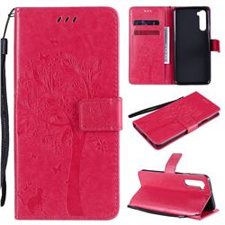 Embossing Butterfly Tree Leather Wallet Case for OnePlus Nord (OnePlus 8 NORD 5G, OnePlus Z) - Rose