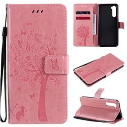 Embossing Butterfly Tree Leather Wallet Case for OnePlus Nord (OnePlus 8 NORD 5G, OnePlus Z) - Pink