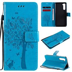 Embossing Butterfly Tree Leather Wallet Case for OnePlus Nord (OnePlus 8 NORD 5G, OnePlus Z) - Blue