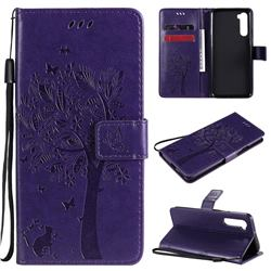Embossing Butterfly Tree Leather Wallet Case for OnePlus Nord (OnePlus 8 NORD 5G, OnePlus Z) - Purple