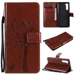 Embossing Butterfly Tree Leather Wallet Case for OnePlus Nord (OnePlus 8 NORD 5G, OnePlus Z) - Coffee