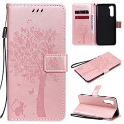 Embossing Butterfly Tree Leather Wallet Case for OnePlus Nord (OnePlus 8 NORD 5G, OnePlus Z) - Rose Pink