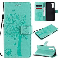 Embossing Butterfly Tree Leather Wallet Case for OnePlus Nord (OnePlus 8 NORD 5G, OnePlus Z) - Cyan