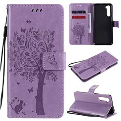 Embossing Butterfly Tree Leather Wallet Case for OnePlus Nord (OnePlus 8 NORD 5G, OnePlus Z) - Violet