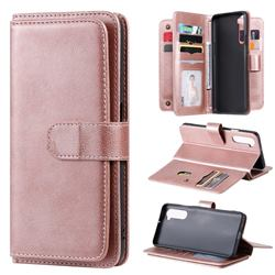Multi-function Ten Card Slots and Photo Frame PU Leather Wallet Phone Case Cover for OnePlus Nord (OnePlus 8 NORD 5G, OnePlus Z) - Rose Gold