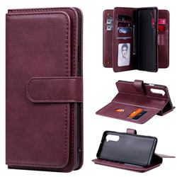 Multi-function Ten Card Slots and Photo Frame PU Leather Wallet Phone Case Cover for OnePlus Nord (OnePlus 8 NORD 5G, OnePlus Z) - Claret