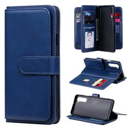 Multi-function Ten Card Slots and Photo Frame PU Leather Wallet Phone Case Cover for OnePlus Nord (OnePlus 8 NORD 5G, OnePlus Z) - Dark Blue