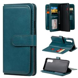 Multi-function Ten Card Slots and Photo Frame PU Leather Wallet Phone Case Cover for OnePlus Nord (OnePlus 8 NORD 5G, OnePlus Z) - Dark Green