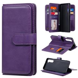 Multi-function Ten Card Slots and Photo Frame PU Leather Wallet Phone Case Cover for OnePlus Nord (OnePlus 8 NORD 5G, OnePlus Z) - Violet