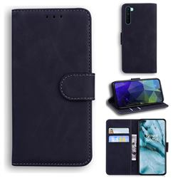 Retro Classic Skin Feel Leather Wallet Phone Case for OnePlus Nord (OnePlus 8 NORD 5G, OnePlus Z) - Black