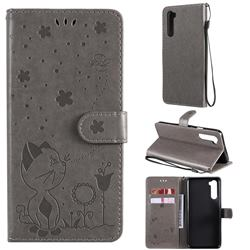 Embossing Bee and Cat Leather Wallet Case for OnePlus Nord (OnePlus 8 NORD 5G, OnePlus Z) - Gray
