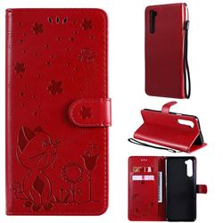 Embossing Bee and Cat Leather Wallet Case for OnePlus Nord (OnePlus 8 NORD 5G, OnePlus Z) - Red