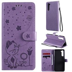 Embossing Bee and Cat Leather Wallet Case for OnePlus Nord (OnePlus 8 NORD 5G, OnePlus Z) - Purple