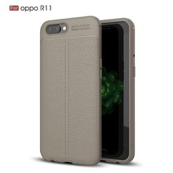 Luxury Auto Focus Litchi Texture Silicone TPU Back Cover for Oppo R11 - Gray