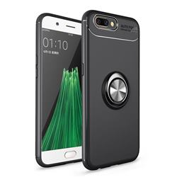 Auto Focus Invisible Ring Holder Soft Phone Case for Oppo R11 - Black