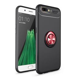 Auto Focus Invisible Ring Holder Soft Phone Case for Oppo R11 - Black Red