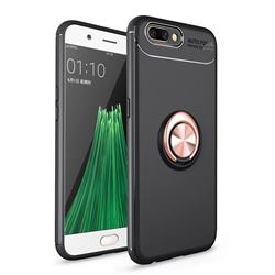 Auto Focus Invisible Ring Holder Soft Phone Case for Oppo R11 - Black Gold