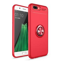 Auto Focus Invisible Ring Holder Soft Phone Case for Oppo R11 - Red
