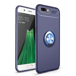 Auto Focus Invisible Ring Holder Soft Phone Case for Oppo R11 - Blue